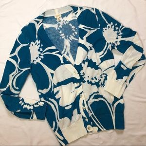 J. Crew Sweaters - J. Crew Blue and White Floral Cardigan Size XS